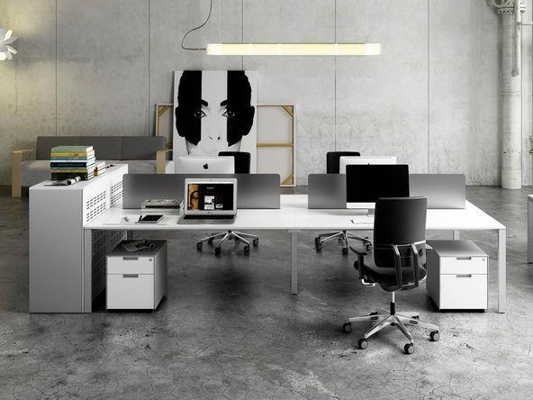 bureau bench 4 personnes avec panneaux frontaux plexiglas comparer les prix de bureau bench 4. Black Bedroom Furniture Sets. Home Design Ideas