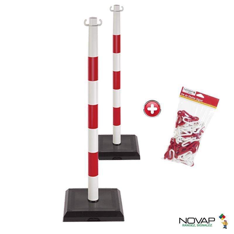 Kit 2 poteaux PVC lestés 3kg Rouge/Blanc - 1999985