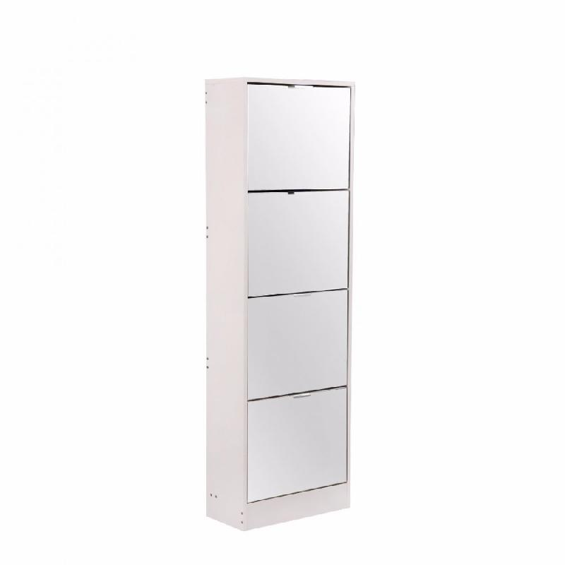 meuble a chaussures rack2 blanc 4 portes miroir. Black Bedroom Furniture Sets. Home Design Ideas