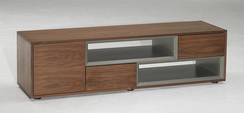 meuble tv design sigma noyer taupe avec 2 niches 2 tiroirs 1 porte comparer les prix de meuble. Black Bedroom Furniture Sets. Home Design Ideas