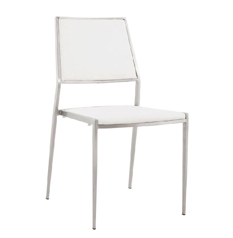 Chaise design 39 lobby 39 en mati re synth tique blanche et for Chaises longues en solde