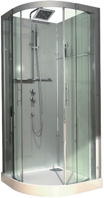 Cabine De Douche Domino Complete Quart De Rond 90x90 Cm Version Confort