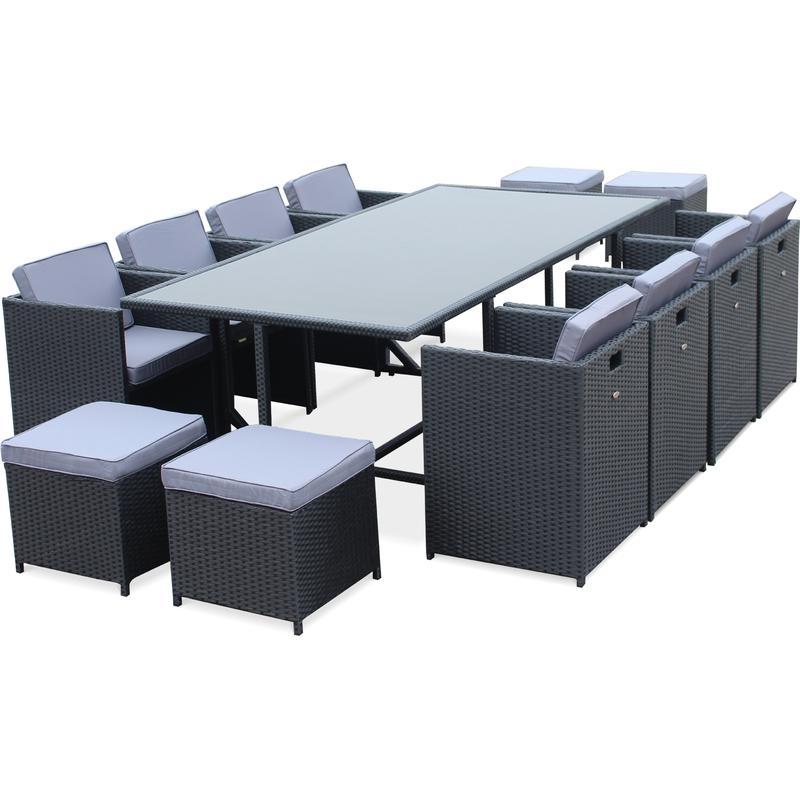 salon de jardin vasto noir table en r sine tress e 8 12 places fauteuils encastrables alice. Black Bedroom Furniture Sets. Home Design Ideas