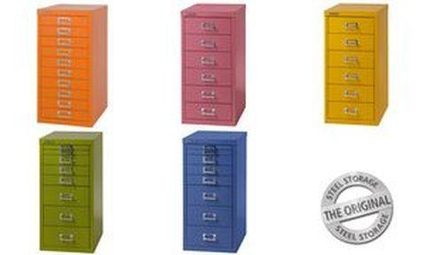 Bisley armoire a tiroir basic a4, 10 tiroirs, rose, sans