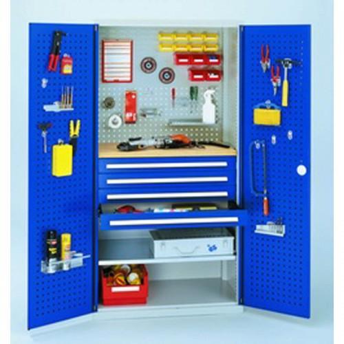 armoire d 39 atelier a tiroirs avec portes perforees rasterplan h1950xl1000xp600mm portes coloris. Black Bedroom Furniture Sets. Home Design Ideas