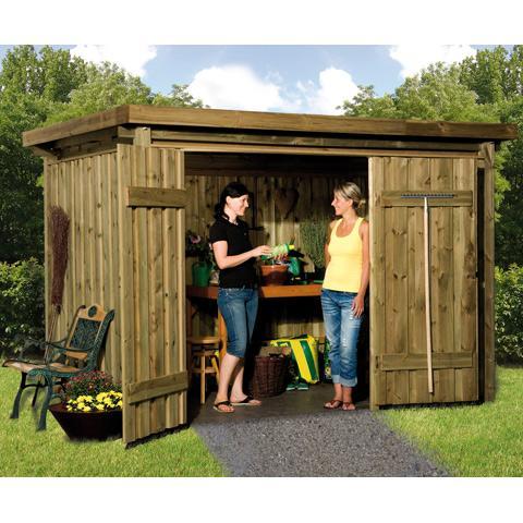 Abri stockage bois 5 7 m2 varius 20 mm toit plat translucide for Abri de jardin en bois toit plat