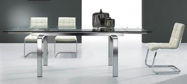 table de repas clear metal transparent extensible jusqu 39 a 12 couverts. Black Bedroom Furniture Sets. Home Design Ideas