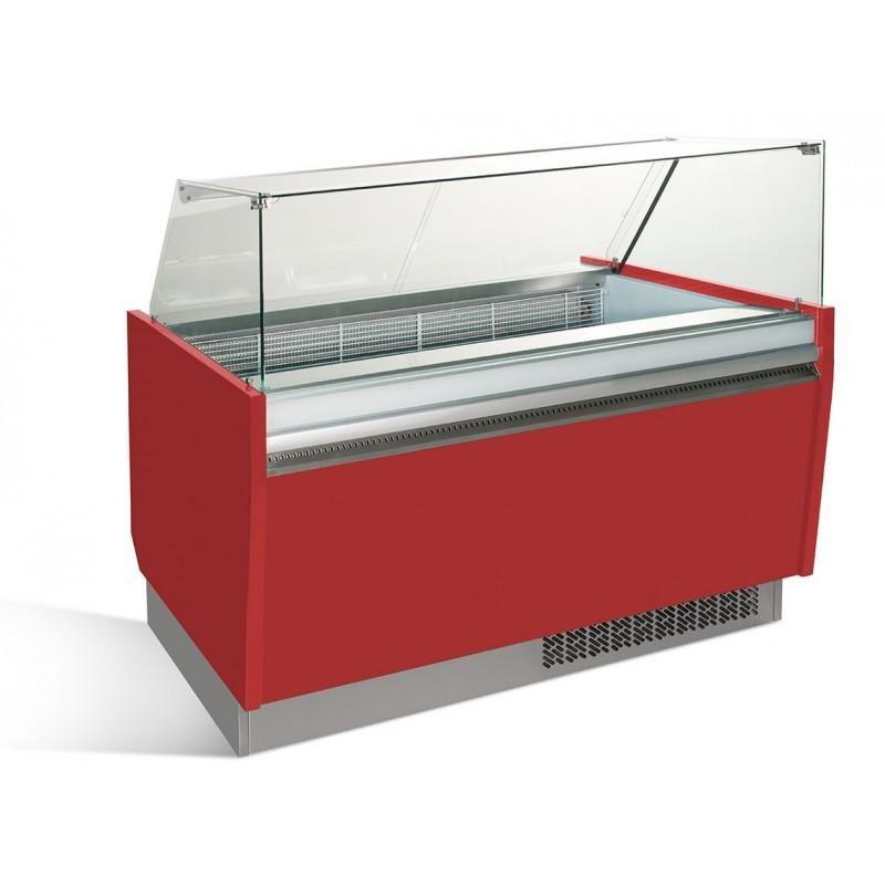 Comptoir à glace 1,56 x 0,92 m - rouge professionnel