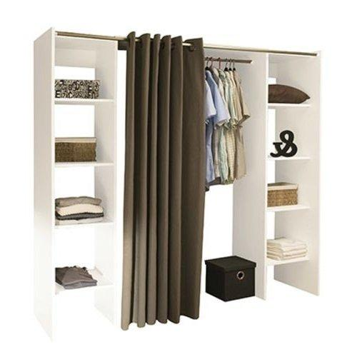 dressing extensible chica 2 colonnes blanc et rideau taupe. Black Bedroom Furniture Sets. Home Design Ideas