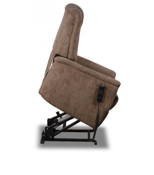Celeste fauteuil relax et releveur electrique microfibre marron cendre - Fauteuil relax marron ...