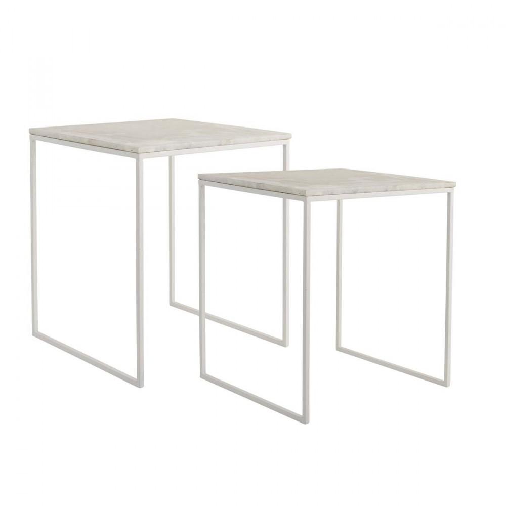 Table basse carrees metal marbre bloomingville lot de 2 tables - Tables basses carrees ...