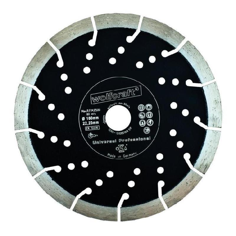 Wolfcraft 1698000 1 Disque Diamant /à Tron/çonner Pro Turbo /Ø 230 Mm Version Fritt/é Bord Continu Al/ésage /Ø 22,2 Mm en 13236 Hauteur de Segment 7 Mm