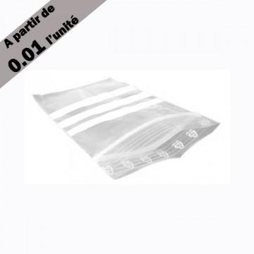 sachet plastique zip 60x80mm bande blanche transparent. Black Bedroom Furniture Sets. Home Design Ideas