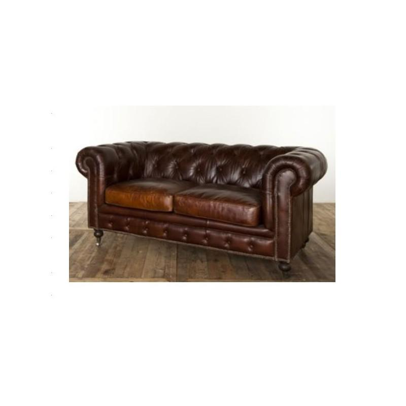 canape chesterfield 2 places en cuir marron vieilli. Black Bedroom Furniture Sets. Home Design Ideas