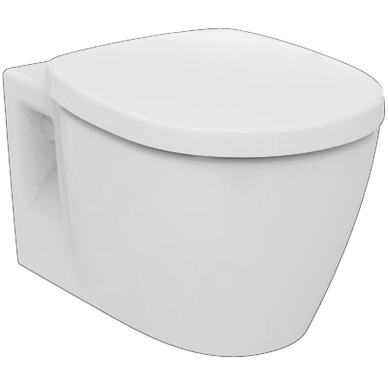Pack wc suspendu connect 55x36,5 cm, sans brides, avec abattant frein de  chute, blanc réf e819101 d1e5baec180f