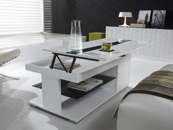 Basse Design Table Laqué Elsye Relevable Blanc N8wOmyvn0