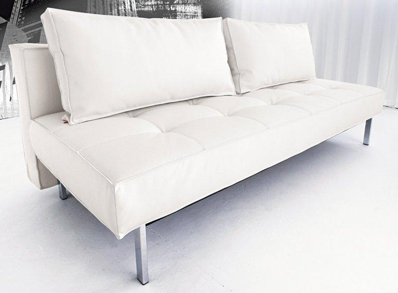 Canape lit design sly deluxe facon cuir blanc innovation convertible lit 140 - Canape cuir convertible design ...