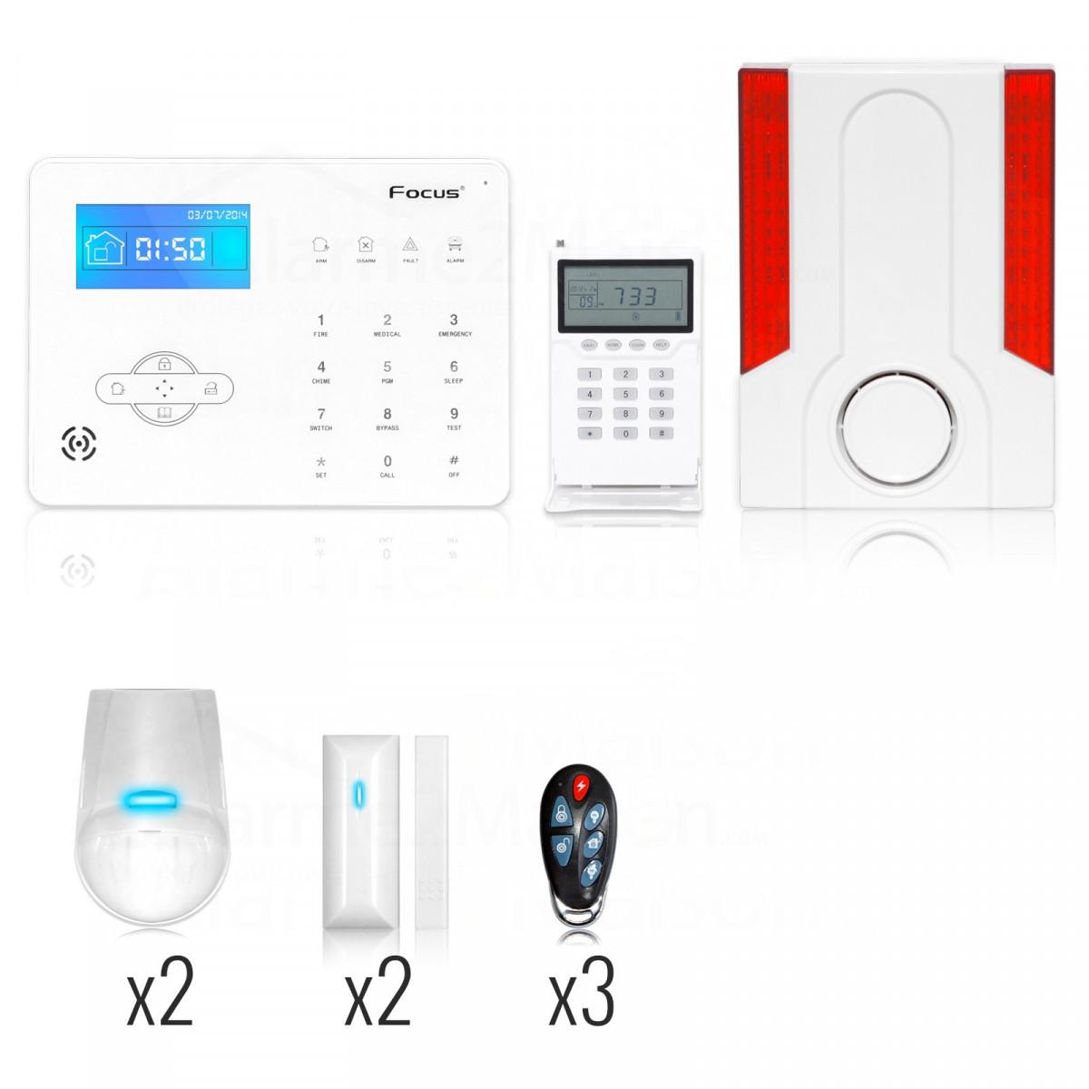 alarme maison sans fil focus gsm rtc 3 4 pi ces comparer les prix de alarme maison sans. Black Bedroom Furniture Sets. Home Design Ideas
