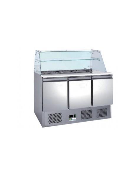 Saladette réfrigérée inox - 3 portes + couvercle télescopique