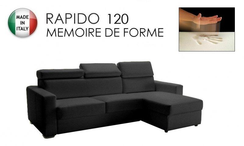 canape d 39 angle rapido sidney deluxe memory matelas 120 14 190 cm memoire de forme cuir vachette. Black Bedroom Furniture Sets. Home Design Ideas
