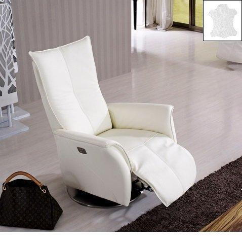 Premium fauteuil relax electrique sans fil cuir vachette blanc
