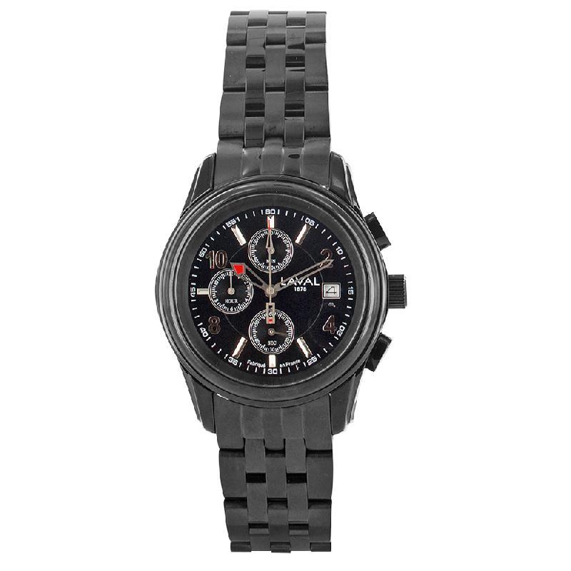 Montre étanche chronographe pour homme dato 3h et bracelet acier boucle déployante