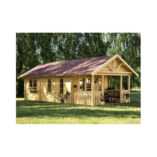 Chalet en bois plain-pied Toronto / madrier 70 mm / 36.62 m² / toit double pente