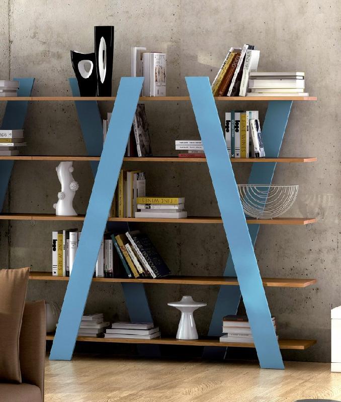 Temahome wind bibliotheque chene teinte bleu for Bibliotheque meuble habitat