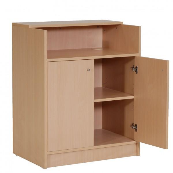 meuble d 39 accueil caisse avec etagere et portes pour banque d 39 accueil. Black Bedroom Furniture Sets. Home Design Ideas