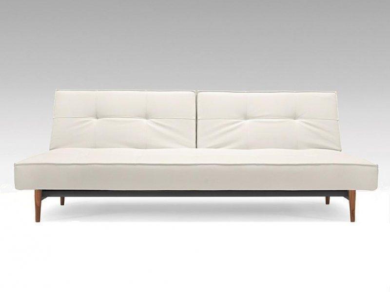 innovation living canape lit design splitback blanc convertible 115 200 cm pietement noyer. Black Bedroom Furniture Sets. Home Design Ideas