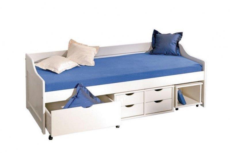 lit banquette floro multi rangements en pin massif blanc couchage 90 x 200 cm. Black Bedroom Furniture Sets. Home Design Ideas
