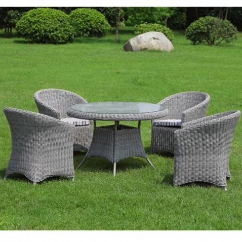 livraison gratuite salon de jardin isa table 4 fauteuils en r sine tress e ronde comparer. Black Bedroom Furniture Sets. Home Design Ideas