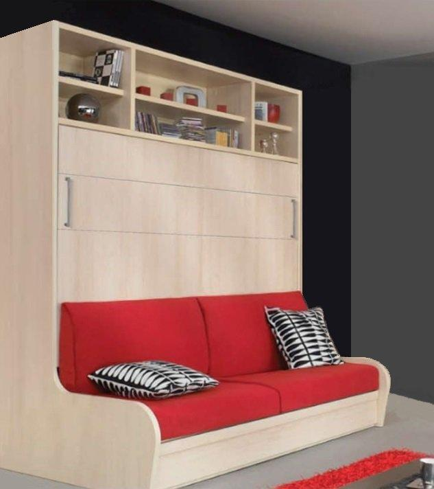 armoire lit transversal autoporteur canape etageres couchage 140 14 190 cm. Black Bedroom Furniture Sets. Home Design Ideas