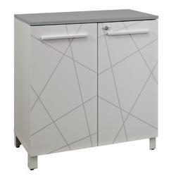 meuble de rangement bas gautier office gamme sunday portes blanc graphique top gris. Black Bedroom Furniture Sets. Home Design Ideas