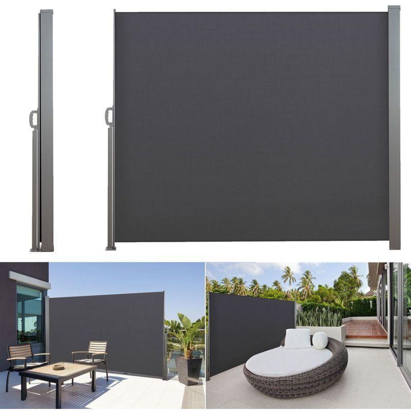 paravent r tractable 300 x 140 cm store gris lat ral enroulable idmarket comparer les prix de. Black Bedroom Furniture Sets. Home Design Ideas