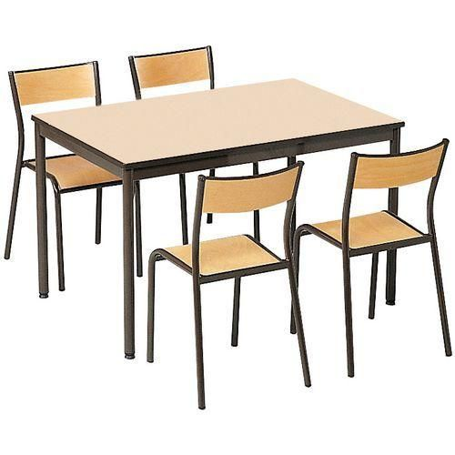 Ensemble chaises et table rectangulaire plateau - Plateau de table stratifie ...