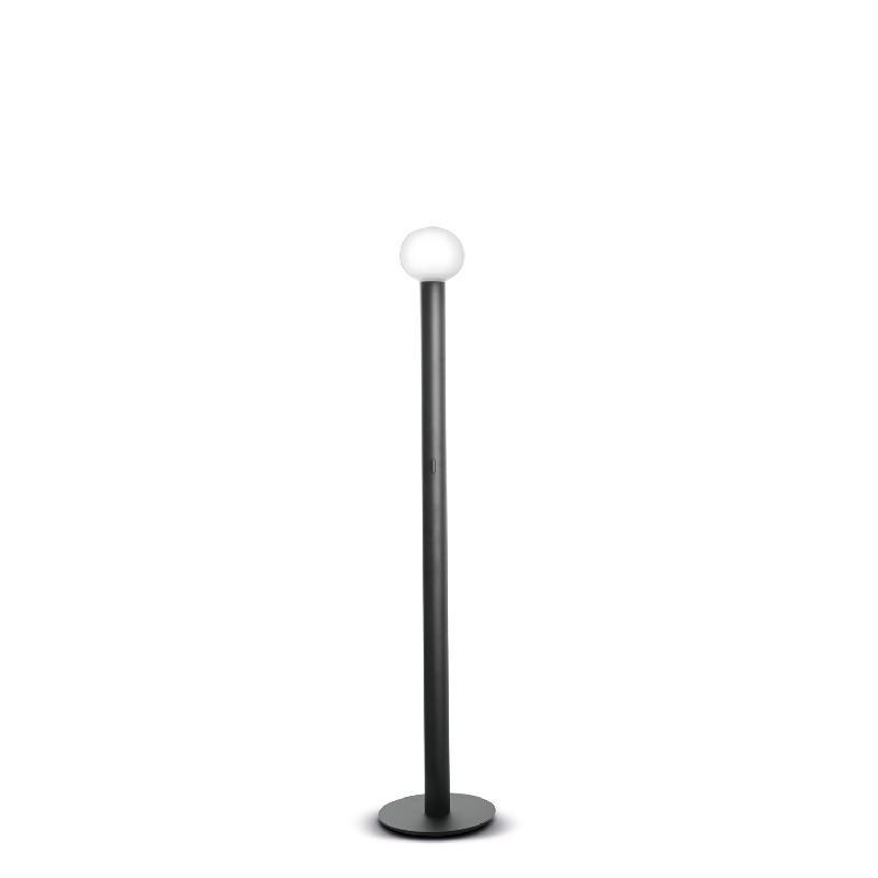 Laguna lampadaire led verre blanc et noir 16cm h140cm - Lampadaire noir et blanc ...