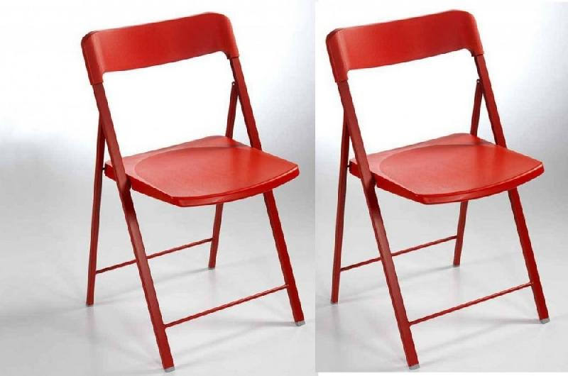 lot de 2 chaises pliantes kully en plastique rouge comparer les prix de lot de 2 chaises. Black Bedroom Furniture Sets. Home Design Ideas