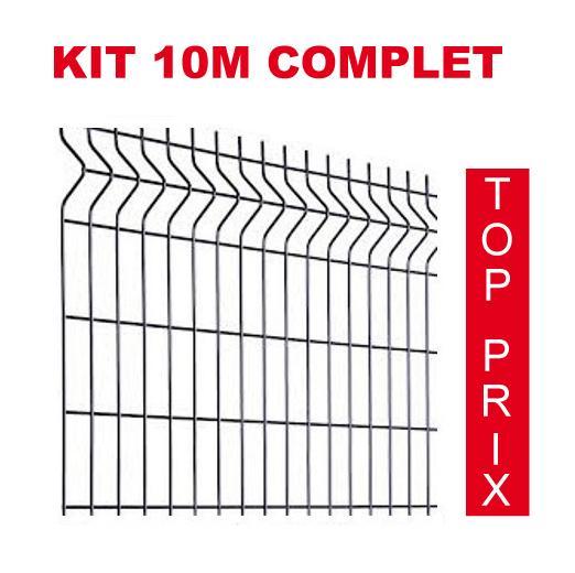 KIT 10M COMPLET GRILLAGE + POTEAU SUR PLATINE POUR PANNEAU HAUTEUR 1025MM - PRIXIMBATTABLE