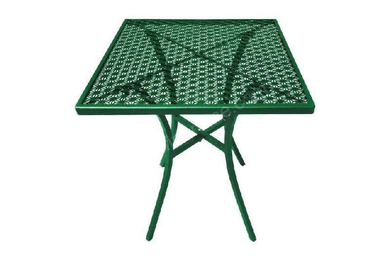TABLE CARRÉE DE TERRASSE VERTE BOUTEILLE EN ACIER BOLERO - 700 X 700 MM