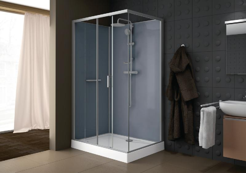 cabine de douche kara rectangle 120x80 porte coulissante 2 volets face verre transparent. Black Bedroom Furniture Sets. Home Design Ideas