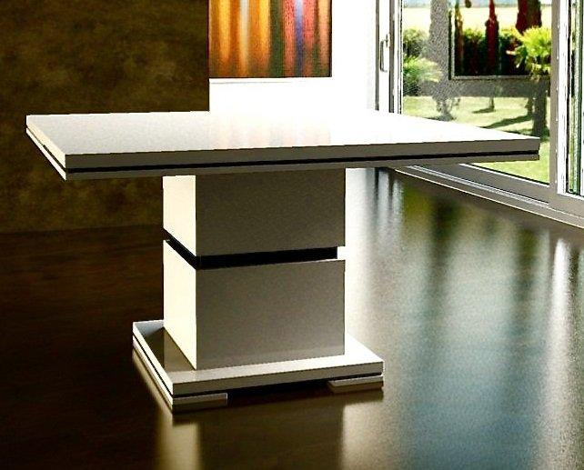 Table design de repas extensible laquee blanche for Table blanche extensible 12 personnes