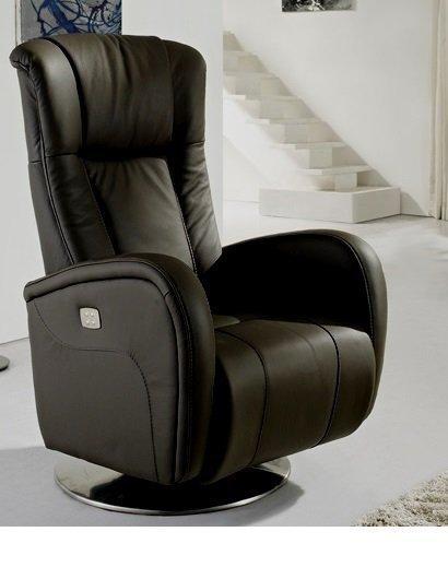 Desire fauteuil relax electrique cuir vachette noir