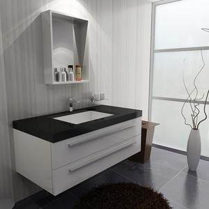 Salle de bain salle de bain grise et homeinterior - Meuble salle de bain bois blanc ...