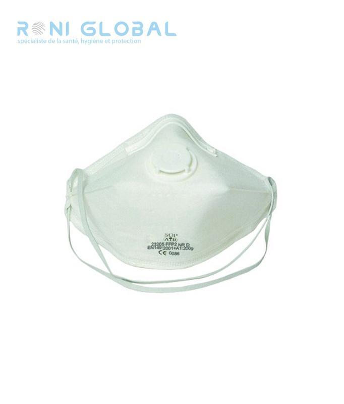 Demi-masque filtrant blanc pliable avec valve ffp2 (20 pièces)