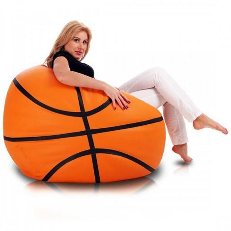 fauteuil pouf en forme de ballon de basket ball. Black Bedroom Furniture Sets. Home Design Ideas
