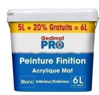 PEINTURE DE FINITION GEDIMAT PRO ACRYLIQUE SATINÉ 5L+20% GRATUIT