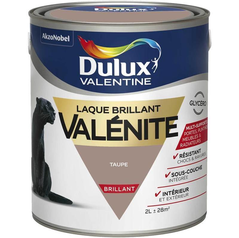 PEINTURE LAQUE VALÉNITE BRILLANT TAUPE 2 L   DULUX VALENTINE