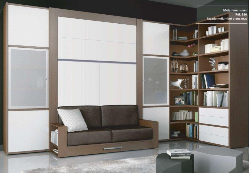 armoire lit escamotable avec canape squadra couchage 160. Black Bedroom Furniture Sets. Home Design Ideas