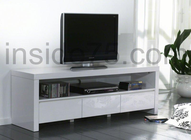 white meuble tv avec 3 tiroirs laque blanc brillant. Black Bedroom Furniture Sets. Home Design Ideas